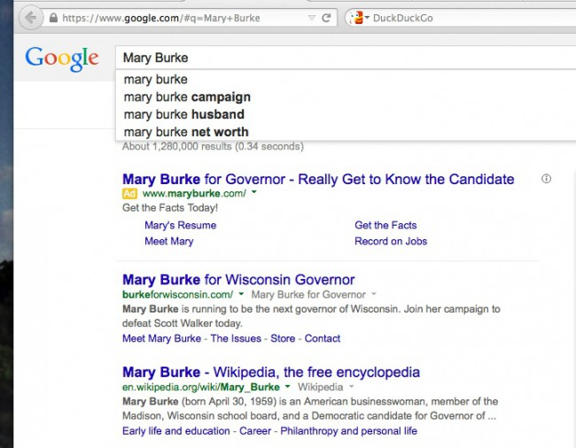 Mary Burke Google search