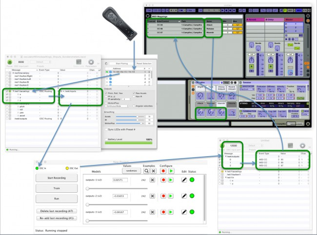 WiiMote OSCulator Wekinator Ableton Live block diagram